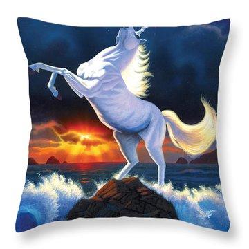 Unicorn Raging Sea Throw Pillow by Chris Heitt