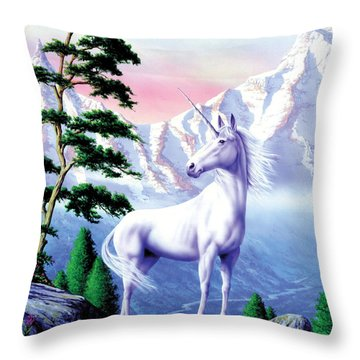 Unicorn The Land That Time Forgot Throw Pillow by Garry Walton
