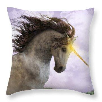 Unicorn With Magic Horn Throw Pillow