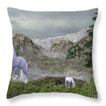 Unicorns In The Mountains Throw Pillow