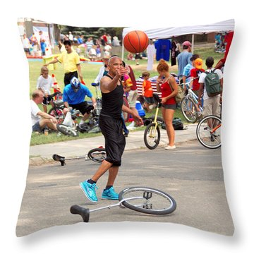 Unicyclist - Basketball - Street Rules  Throw Pillow by Mike Savad