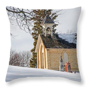 Union Cemetery Chapel Throw Pillow by Susan  McMenamin