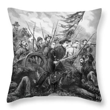 Union Charge At The Battle Of Gettysburg Throw Pillow by War Is Hell Store