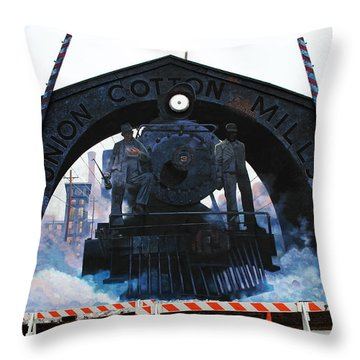 Union Cotton Mills Throw Pillow by Blue Sky