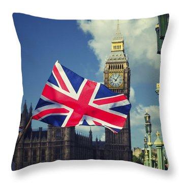 Union Jack Flag Throw Pillow by Joseph S Giacalone