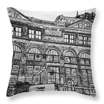 Union Light And Power In Black And White Throw Pillow