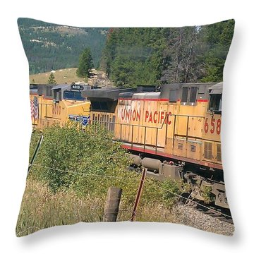 Throw Pillow featuring the photograph Union Pacific 6587 by Fortunate Findings Shirley Dickerson