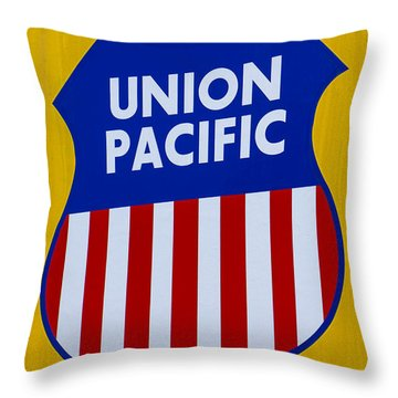 Union Pacific Raolroad Sign Throw Pillow by Garry Gay