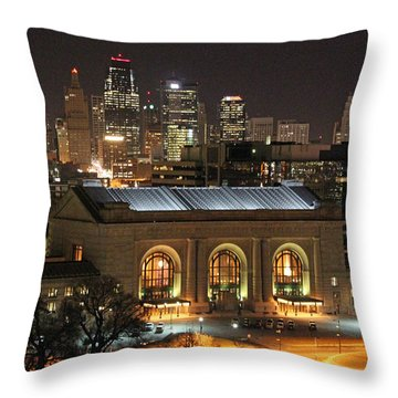 Union Station At Night Throw Pillow