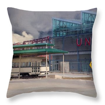 Union Station - Backside - Oil Painting Throw Pillow by Liane Wright