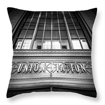 Union Station Chicago In Black And White Throw Pillow by Paul Velgos