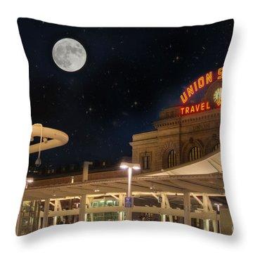 Union Station Denver Under A Full Moon Throw Pillow