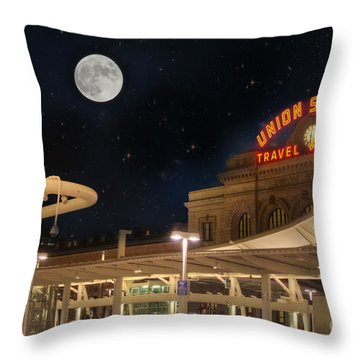 Union Station Denver Under A Full Moon Throw Pillow