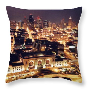 Union Station Night Throw Pillow by Crystal Nederman