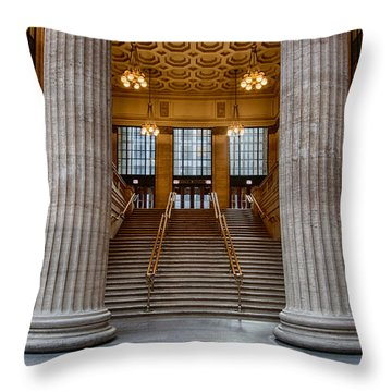 Union Station Stairs Throw Pillow by Mike Burgquist