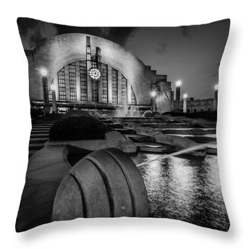 Union Terminal At Night Throw Pillow