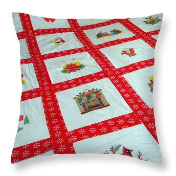 Unique Quilt With Christmas Season Images Throw Pillow by Barbara Griffin