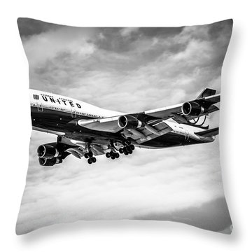 United Airlines Airplane In Black And White Throw Pillow