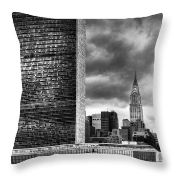 United Nations And Chrysler Building Throw Pillow