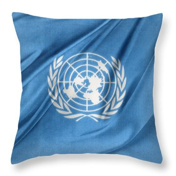 United Nations Throw Pillow by Les Cunliffe