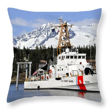 United States Coast Guard Cutter Liberty Throw Pillow by Cathy Mahnke