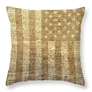 United States Declaration Of Independence Throw Pillow by Dan Sproul