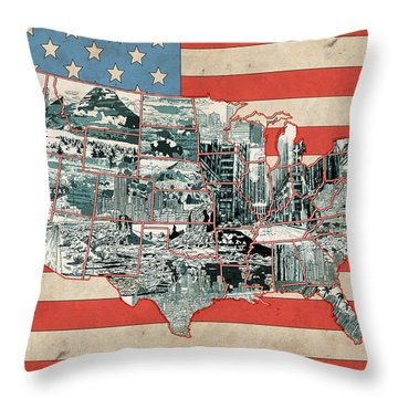 United States Flag Map Throw Pillow