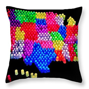 United States Of Lite Brite Throw Pillow by Benjamin Yeager