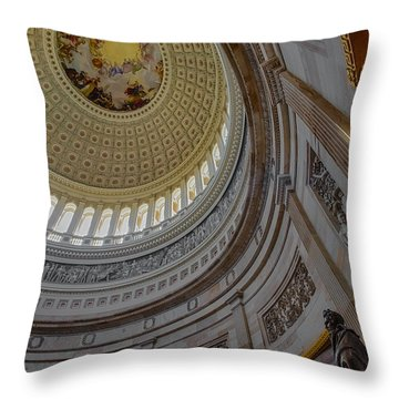 Unites States Capitol Rotunda Throw Pillow by Susan Candelario