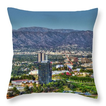Universal City Warner Bros Studios Clear Day Throw Pillow by David Zanzinger