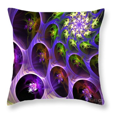 Throw Pillow featuring the digital art Universal Pods by Arlene Sundby