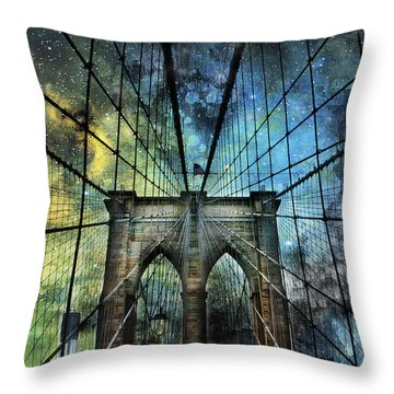 Universe And The Brooklyn Bridge Throw Pillow