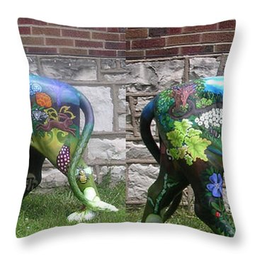University City In Bloom Lion Throw Pillow by Genevieve Esson