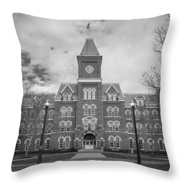 University Hall Black And White Throw Pillow