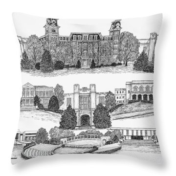 University Of Arkansas Fayetteville Throw Pillow by Liz  Bryant