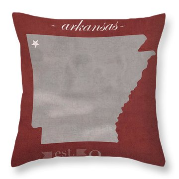 University Of Arkansas Razorbacks Fayetteville College Town State Map Poster Series No 013 Throw Pillow by Design Turnpike