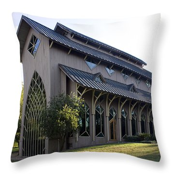 Throw Pillow featuring the photograph University Of Florida Chapel On Lake Alice by Lynn Palmer