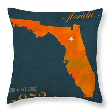 University Of Florida Gators Gainesville College Town Florida State Map Poster Series No 003 Throw Pillow by Design Turnpike