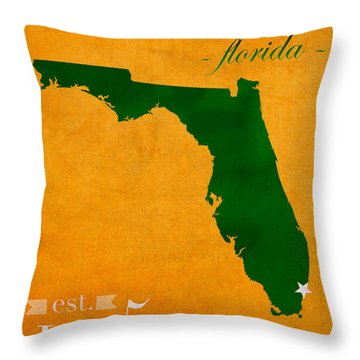 University Of Miami Hurricanes Coral Gables College Town Florida State Map Poster Series No 002 Throw Pillow by Design Turnpike
