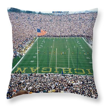 University Of Michigan Football Game Throw Pillow by Panoramic Images