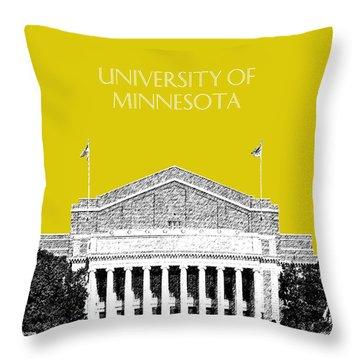 University Of Minnesota 2 - Northrop Auditorium - Mustard Yellow Throw Pillow