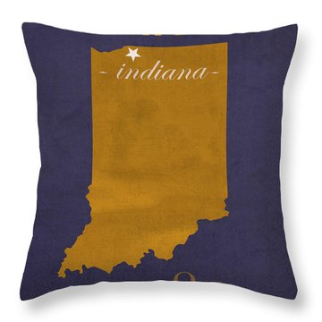 University Of Notre Dame Fighting Irish South Bend College Town State Map Poster Series No 081 Throw Pillow by Design Turnpike