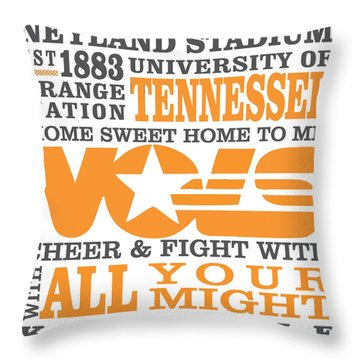 University Of Tennessee Graphic Canvas Throw Pillow by Debbie Karnes