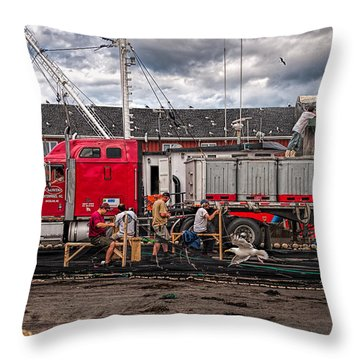 Unloading Fish And Mending Nets Throw Pillow by Bob Orsillo