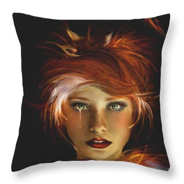 Untamed The Redhead And The Fox Throw Pillow