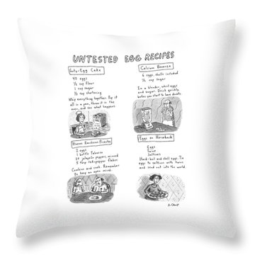 Untested Egg Recipes Throw Pillow