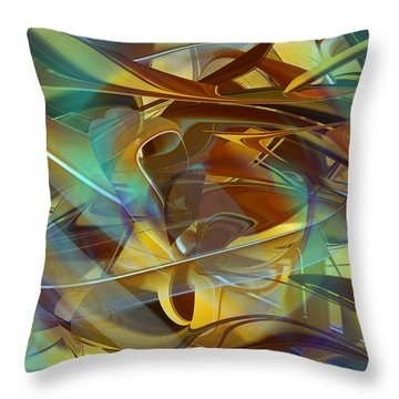 Abstract Number Fifteen In Blue Throw Pillow