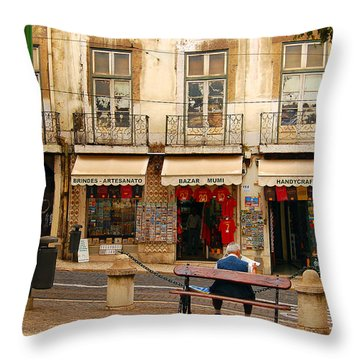Lisbon Street Scene Throw Pillow