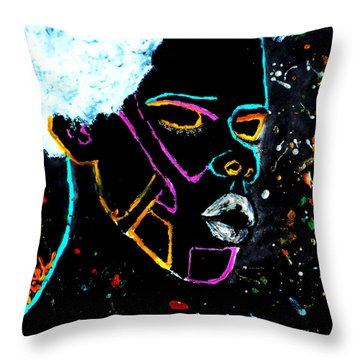 Throw Pillow featuring the painting Pure Cosmic Blackness by Tarra Louis-Charles