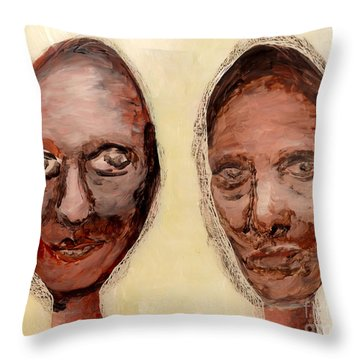 Throw Pillow featuring the painting Untitled Two by Anna Skaradzinska